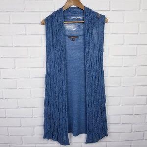 Fever Blue Sleeveless Long Open Knit Cardigan XL